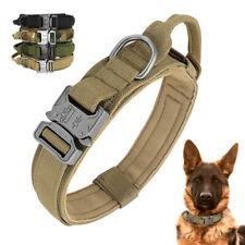 K9 Tactical Dog Collar Padded with Handle Cobra Buckle Military Nylon Doberman ~