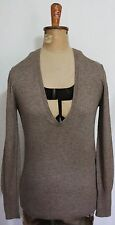 COUNTRY ROAD ~ Milk Chocolate Brown Deep V Neck Slim Fit Knit Jumper L (14)
