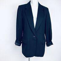 PENDLETON Wool Black One Button Made In USA Women Blazer. Size 10. Excellent