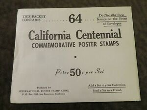64 California Centennial Commemorative Poster Stamps 1950 COMPLETE SHEET + Extra