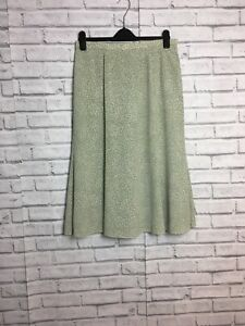 Eastex Size 14 Green & Cream small leaf Print Fishtail aline Stretch waist skirt