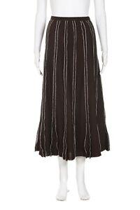 AUTOGRAPH Midi Skirt 10 Brown White Maxi Linen High Waisted Long Large Boho Chic