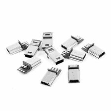 10 Pcs Mini USB 5 Pin Male Plug DIY SMT Connector Silver Tone Dark Gray
