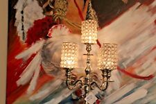 Handmade Metal Crystal Beaded Traditional Candelabra 5-Arm Nickel New Home Decor