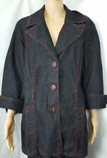 51b95fdbd53f1 Bisou Bisou Womens Denim Jacket Sz XL 3 Button Red Contrast Stitch 3/4  Sleeve