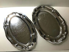 "Two Stainless ""Silver"" Platters or H'orderves Trays"