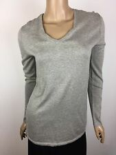 State of_ Gray Sweater V-Neck New $330 NWT Sz S Silk Cotton Cashmere L/S