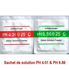 Lot de 2 Sachets de solution PH 4.01 & PH 6.86  ** VENDEUR FRANCAIS ** Exp de Fr