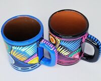 2 Sayulita Mexico Pottery Mugs Cups Mexican Birds Terracotta Hand Paint Glazed