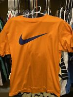 Nike Orange Blue Swoosh Large L Shirt Jordan Kobe Lebron Knicks Mets Islanders