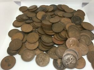 Job Lot British Old Pennies 173 Old Penny Coins 1900's To 1967  Weight 1.6kg