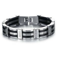 Mens Silver Stainless Steel Black Silicone Wristband Rubber Bracelet Chain