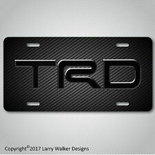 TRD Toyota  Black Acrylic on Carbon Fiber Look Aluminum License Plate Tag New