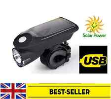 front solar USB rechargeable bike light - waterproof head lamp 4 modes white UK