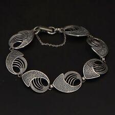 """VTG Sterling Silver - Signed Filigree Curved Link 7"""" Bracelet - 9.5g"""