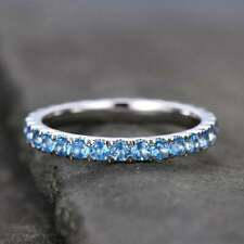 1Ct Round Cut Blue Topaz Full Eternity Engagement Band Ring 14K White Gold Over