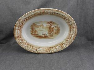 Old Hall E'Ware Oval Serving BOWL ITALY pattern Brown Transferware Staffordshire