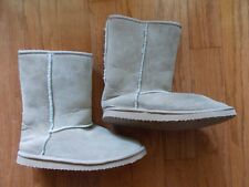 Womens Fur Boots Suede Mid Calf Winter Faux Tan Suede Flat Sheepskin sz 9, 8.5