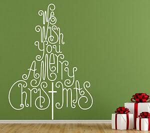 "Christmas Tree. ""We Wish You A Merry Christmas"" window, wall decal sticker art."