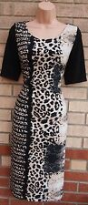 Negro Beige Blanco Leopardo Animal Trasera Negra Lápiz Tubo Bodycon té Vestido 12 M