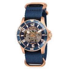 Invicta Objet d' Art 27592 Men's Rose Gold Blue Nylon Automatic Skeleton Watch