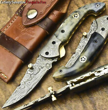 CUSTOM HAND FORGED DAMASCUS POCKET FOLDING KNIFE LINER LOCK | FARMS CAMEL BONE