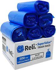 Reli. SuperValue 2-4 Gallon Recycling Bags (300 Count Bulk) Blue Trash Bags