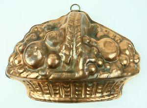 Vintage English made Copper Fruit Basket Design Jelly Mould Tinned Interior.
