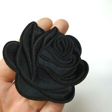 Black Rose Iron-On/Sew-On Embroidered Patch, Applique Motif - Goth Punk Alt Emo