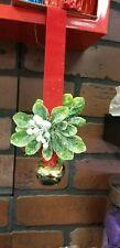 """Mistletoe Decor 8"""" long Mistletoe leaves and berries Red Hanger Gold Jingle Bell"""