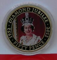 2012 50p TDC Royal Diamond Jubilee HM Queen Elizabeth II 1977 Peter Grugeon