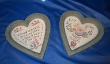 """Vintage Set of 2 HomCo Heart Wall Hangings """"A House Is."""" & """"Love Grows."""""""