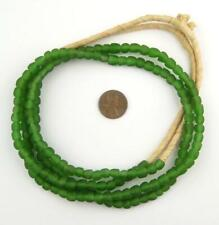 Green Recycled Glass Beads 7mm Ghana African Sea Glass Round 24 Inch Strand