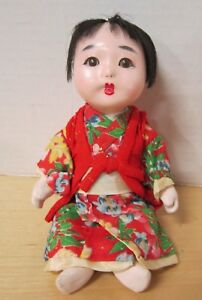 "Adorable antique 8"" composition Japan Oriental baby - all original - VGC"