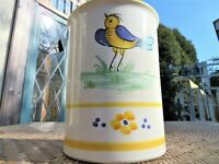 "Vintage Hand Painted Italian Ceramic 6 1/4"" Jar Utility~ Italy Yellow Bird"