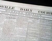 Rare PRO CONFEDERATE Louisville KY Kentucky 1861 Civil War in 1ST YEAR Newspaper