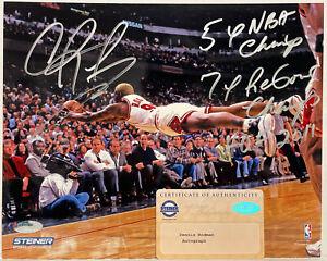 DENNIS RODMAN CHICAGO BULLS SIGNED AUTOGRAPHED 8X10 PHOTO-STEINER HOLO COA