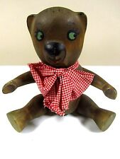 Vintage Wooden Teddy Bear Doll Hand Painted