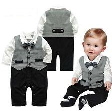 Baby Jungen Kinder Strampler Anzug Smoking Gentelman Geschenk Geburt NEU Taufe