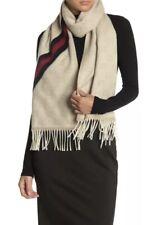 New Auth Gucci Unisex Monogram Supreme GG Wool Blend Scarf Wrap Beige Tan $650