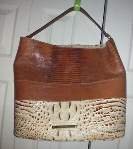 Brahmin Tri Color Large Leather Hobo Handbag Purse Shoulder Croc Lizard VGC