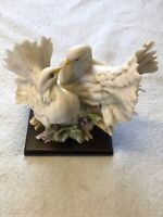 White Courtship Doves Statue on wood base