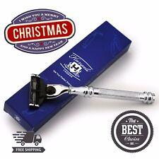 Stainless Steel 3 Edge Blade Razor Mens Wet Shaving Selection Gift Kit for Him
