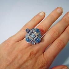 Aquamarine Gemstone & Topaz Briolette 16.47ctw Statement Geometric Fashion Ring