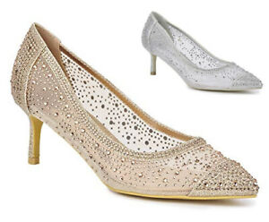 New Ladies Mid Heel Party Diamante Glitter Mesh Pointed Slip On Court Shoes 3-8