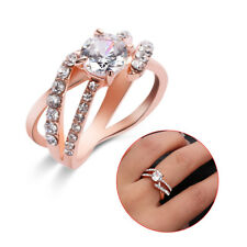 925 Sterling Silver Ring TwoTone Rose Gold White Sapphire Across Diamond Jewelry