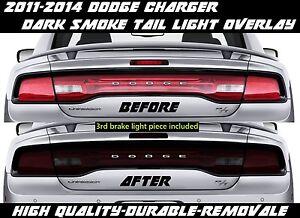Dark Smoke Overlay Tint smoked for 2011 2012 2013 2014 Dodge Charger Tail Light