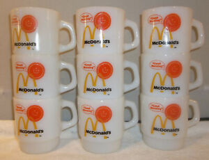 9 Vintage McDonald's Good Morning Anchor Hocking Fire King Milk Glass Mugs