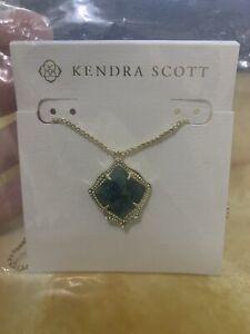 Kendra Scott Kacey Gold Long Pendant Necklace in Emerald Cat's Eye