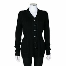 Versace Black Wool Long Sleeve Button Up Knit Cardigan - Size 44